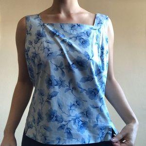 vintage square neck floral blouse